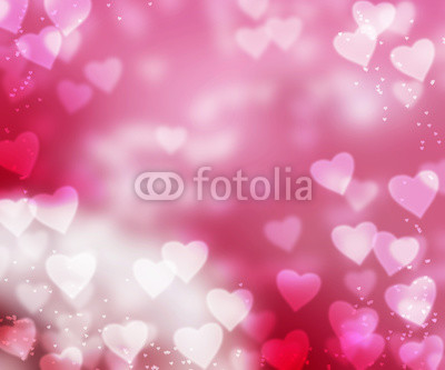 Abstract background with heart shapes on pink