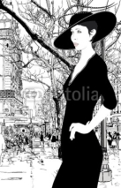 Naklejki illustration of an elegant lady in Paris