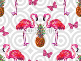 Fototapety Summer jungle pattern with tropical butterflies, flamingo and pineapple vector background. Beautiful exotic pattern. Perfect for wallpaper, pattern fill, web page background, surface textures, textile