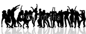 Naklejki Vector silhouette of people who dance.