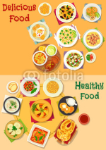 Lunch icon set with healthy food dishes