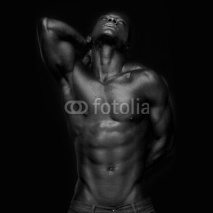 Naklejki African American with Muscles