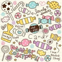 Fototapety Cute Doodle Candy