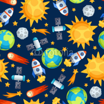 Obrazy i plakaty Seamless pattern of solar system, planets and celestial bodies.