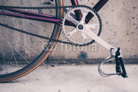 Road bicycle and concrete wall, urban scene vintage style
