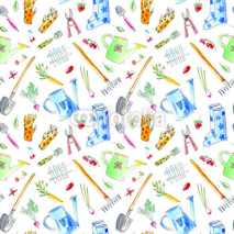 Fototapety Village image with garden plants and tools seamless pattern.Drawing with berries,flowers,vegetables,watering can,spade,rubber boots,rake,carrots.Watercolor hand drawn illustration.White background.