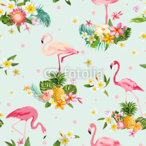Fototapety Flamingo Bird and Tropical Flowers Background - Retro seamless pattern