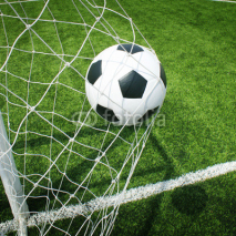 Fototapety Soccer football field stadium grass line ball background texture
