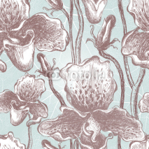Fototapety Seamless orchid floral pattern. Vector, EPS10