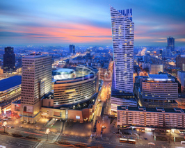 Naklejki Panorama of modern Warsaw by night