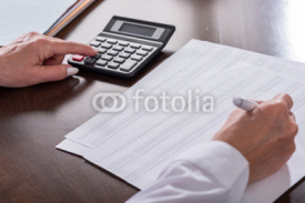 Fototapety Woman doing her accounting