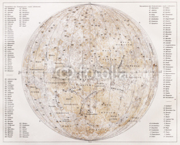 Naklejki Vintage map of the moon from the end of 19th century
