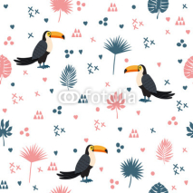 Naklejki Seamless pattern with toucan and leaves. Cute background with de