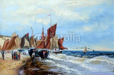 Fishing boats, oil paintings.