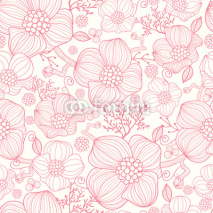 Naklejki Vector red line art flowers elegant seamless pattern background