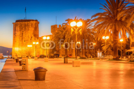 Naklejki Trogir old town. / View at old town Trogir promenade in sunset, Croatia Europe.
