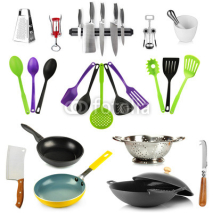 Naklejki Kitchen tools collection isolated on white
