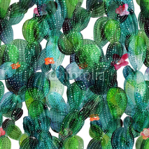 Fototapety Cactus pattern in watercolor style
