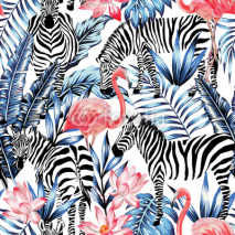Obrazy i plakaty watercolor flamingo, zebra and palm leaves tropical pattern