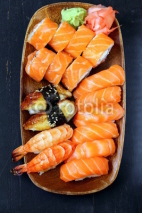 Fototapety Assorted sushi with salmon, shrimp and eel