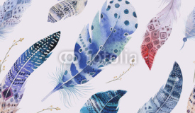 Feathers pattern. Watercolor elegant background. Watercolour col