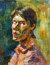 Naklejki Beautiful Original Oil Painting with men  portrait in Impressionism style