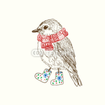 Naklejki Pen and ink illustration of bird in scarf
