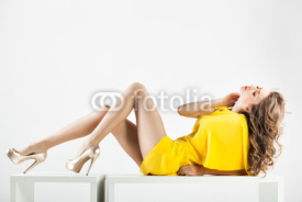 Obrazy i plakaty beautiful woman with long sexy legs dressed elegant posing