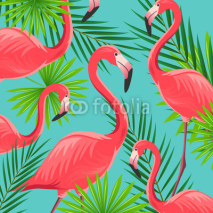 Naklejki Vector Illustration of an Abstract Background with Flamingos
