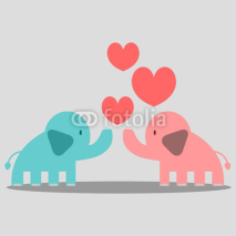 Fototapety Cute couple of elephants in love