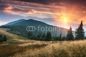 Fototapety Sunrise above peaks of smoky mountain with the view of forest in the foreground. Dramatic overcast sky.