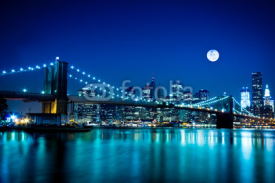 Obrazy i plakaty Night Scene Brooklyn Bridge and New York City