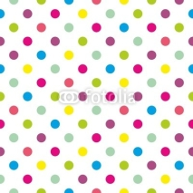 Obrazy i plakaty Seamless vector colorful polka dots pattern on white background