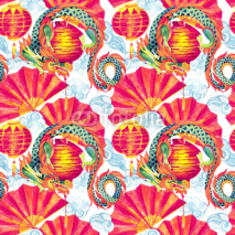 Fototapety Chinese Dragon watercolor seamless pattern.