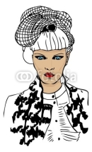 Fototapety fashion woman portrait with trendy hair style and fake chanel ja