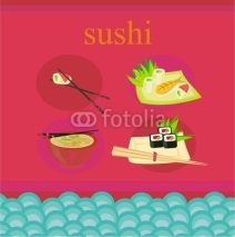 Fototapety template of traditional Japanese food menu