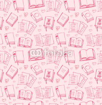 Fototapety Pattern for girls with books, papers and hearts