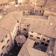 Naklejki Aerial view background, italian medieval city architecture. Ital