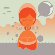 Fototapety Woman in Hot Thermal Bath Spa with speech bubble card tag
