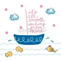Fototapety Vector Cute Blue Boat