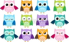 Fototapety Set of 12 cartoon owls with various emotions