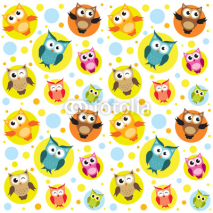 Obrazy i plakaty Seamless pattern with colorful owls