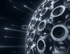 black sphere of audio speakers and several opticle flare. 3d rendering