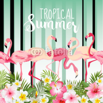 Fototapety Flamingo Bird Background. Retro Pattern. Tropical Background. Tropical Vector
