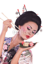 Naklejki woman in Japanese kimono with chopsticks and sushi roll