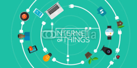 Naklejki Internet of Things flat iconic illustration