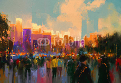 beautiful painting of people in a city park at sunset