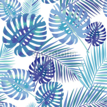 Naklejki Palm Tropical leaves seamless pattern.