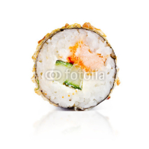 Naklejki traditional fresh japanese sushi rolls on a white background