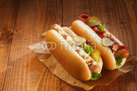 Fototapety Two hotdogs with copy space